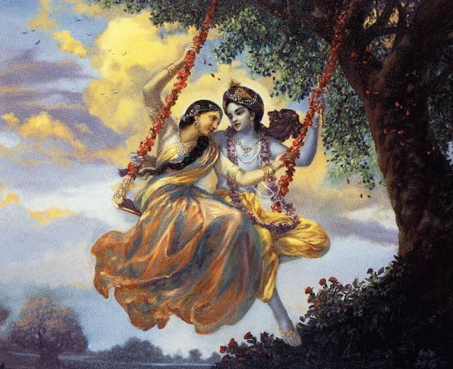 Radha and Krishna on a...